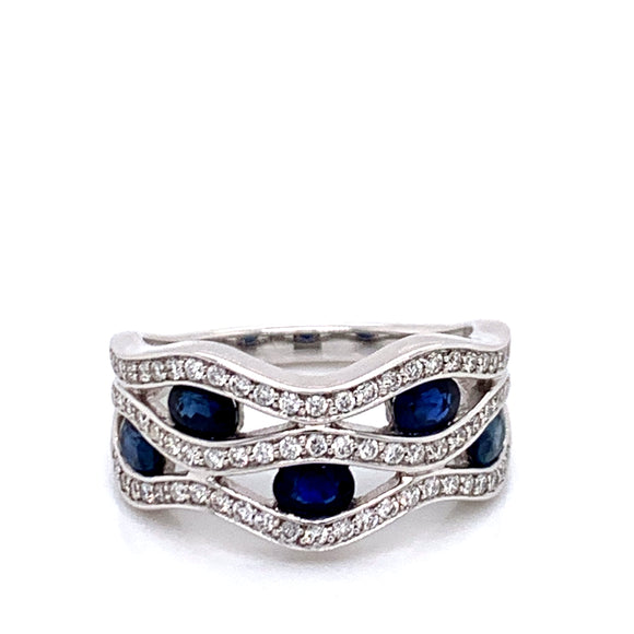 Sapphire and .35ct Diamond Wave Ring White Gold Ring