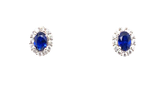 Sterling Silver Sapphire And Cz Oval Halo Earrings