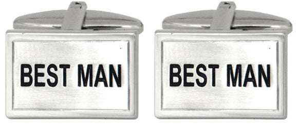 Best Man Rhodium Plated Cufflinks