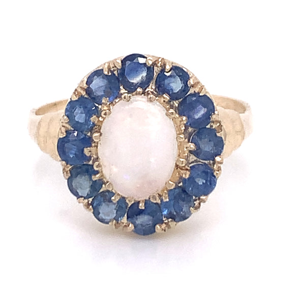 Opal with Sapphire Suround Gold
