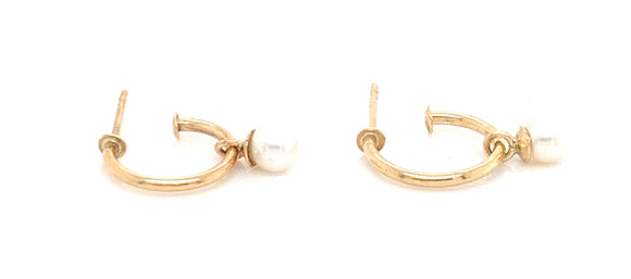 9ct Gold Fresh Water Pearl Drop Hoop Earrings