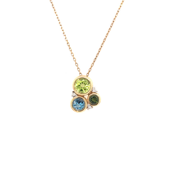 Peridot, Blue Topaz and Diamond