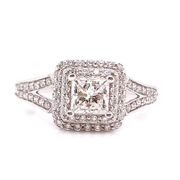 18ct White Gold Princess Cut Pave Set Double Halo with Split Shank Diamond Engagement Ring