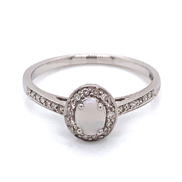 Opal & Diamond 9ct white gold ring