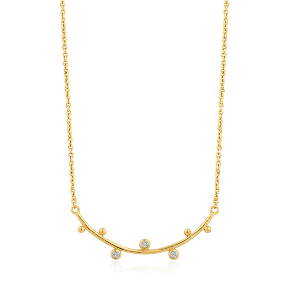 ANIA HAIE Touch of Sparkle Shimmer Stud Bar Necklace Gold