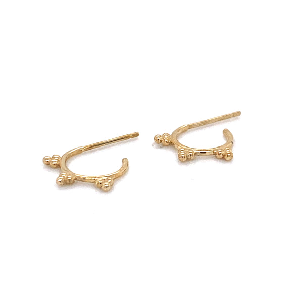 9ct Gold 3 Ball accent Hoop Earring PT46638