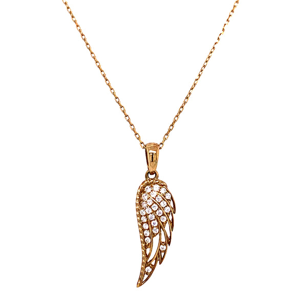 9ct Gold Cz set Angel Wing