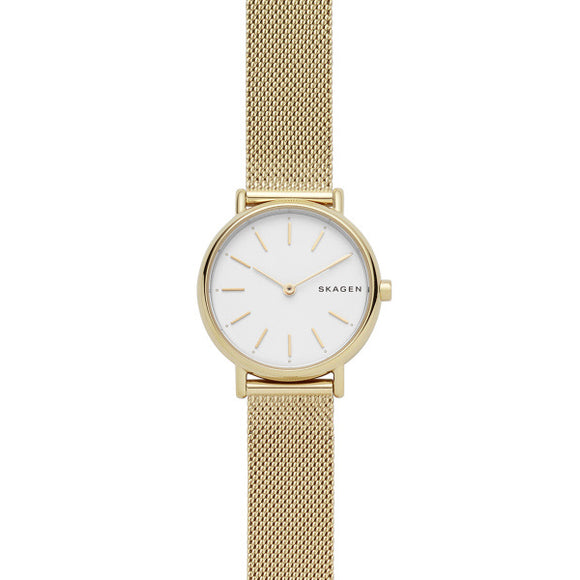Skagen Signatur Gold With White Face And Mesh Strap SKW2693