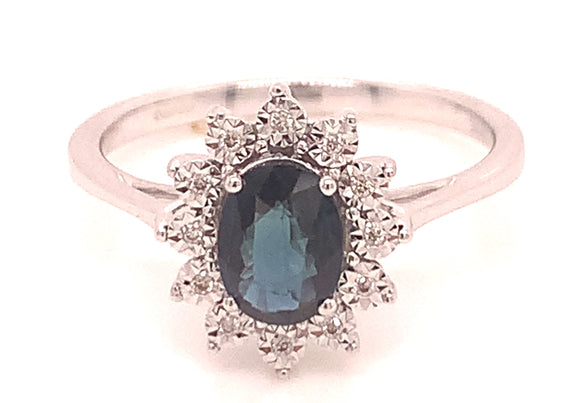 1.06CT SAPPHIRE & DIAMOND WHITE GOLD RING
