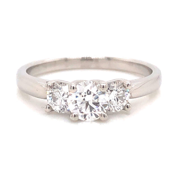 Three Stone Platinum Ring 0.94ct