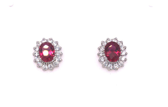 Sterling Silver Princess Di Ruby Cz Earrings