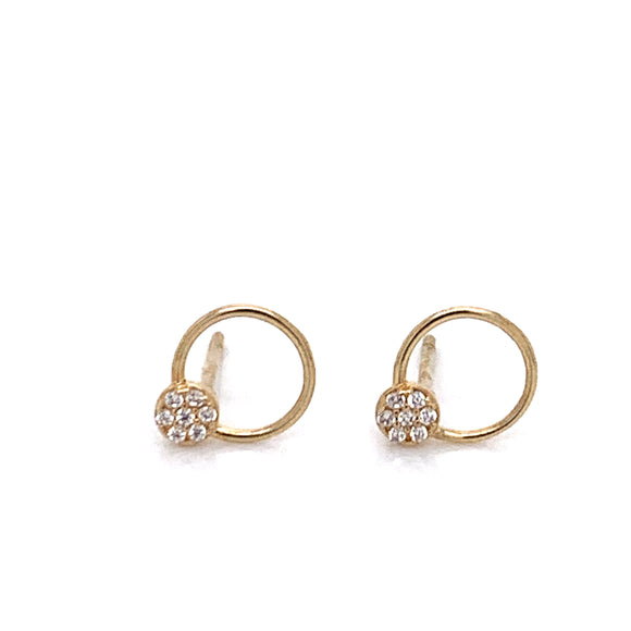 9ct Gold Open Circle with Pave Set Top Detail