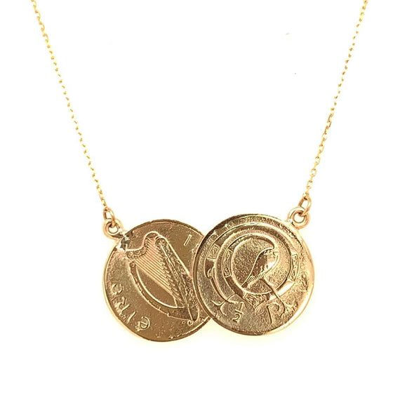 Tadgh Óg Solid 9ct Gold Double Haypenny Irish Coin Pendant