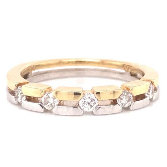 18ct Yellow and White Gold Wedding Band