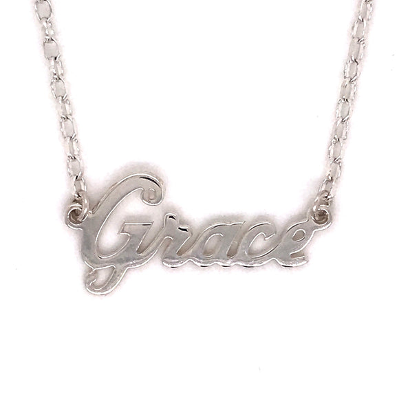 Name Plate Necklace Silver