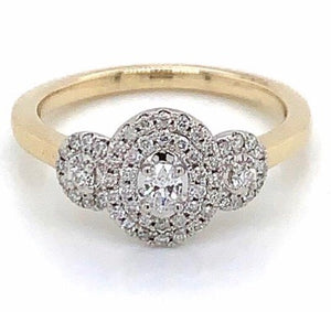 9ct Yellow Gold Three Stone Engagement Ring