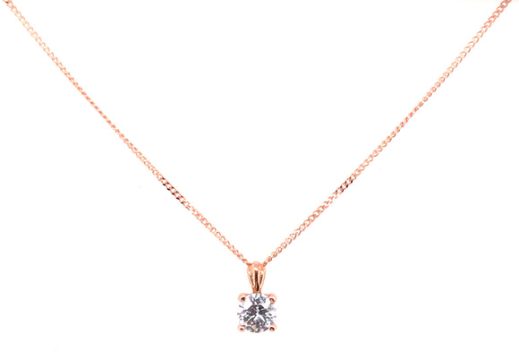 9ct Rose Gold Round Cz 4mm X 7mm Pendant