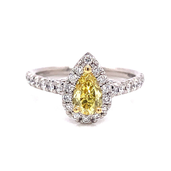 Platinum Fancy Intense Yellow Pear Halo Ring