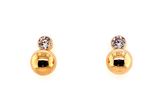 9ct Yellow Gold CZ And Ball Drop Earrings