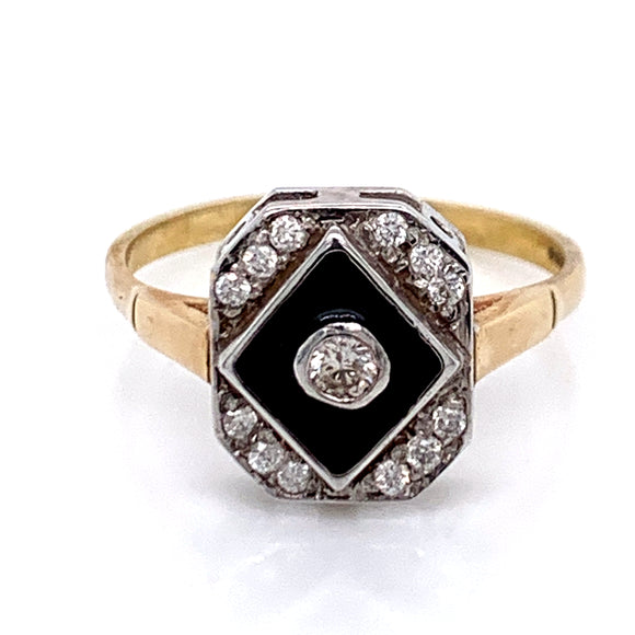 Black Enamel and Diamond Vintage Style Ring