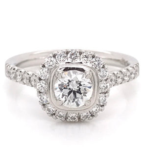 Platinum Round Bezel set Diamond Halo