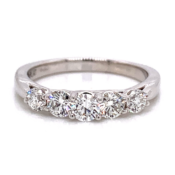 Platinum Tapered Five Stone Eternity Band