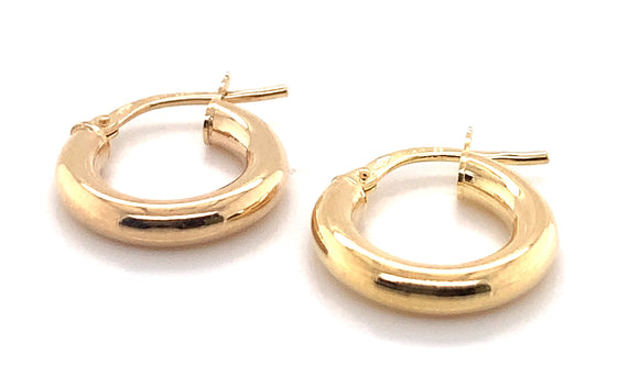 9CT YELLOW GOLD 3MM ROUND-TUBE 15MM POLISHED HOOP CREOLE EARRINGS