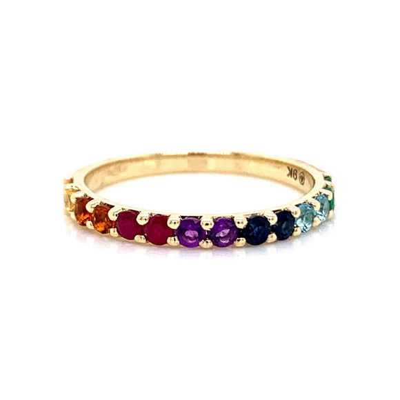 9ct Gold Rainbow Multi Gemstone Band