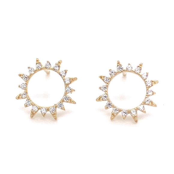 9ct Gold Cz Open Sun Studs