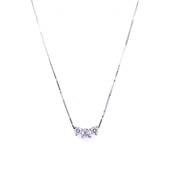 9ct White Gold Diamond 3 Stone Pendant