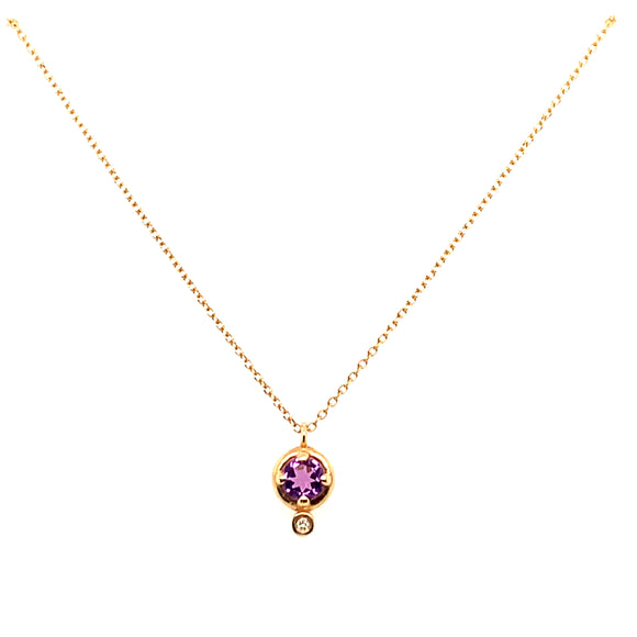 Anma 14ct Gold Amethyst And 0.08ct Diamond Necklace