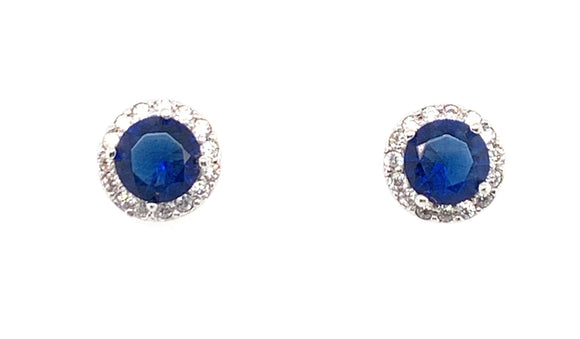 Sterling Silver Sapphire And Cz Round Earrings