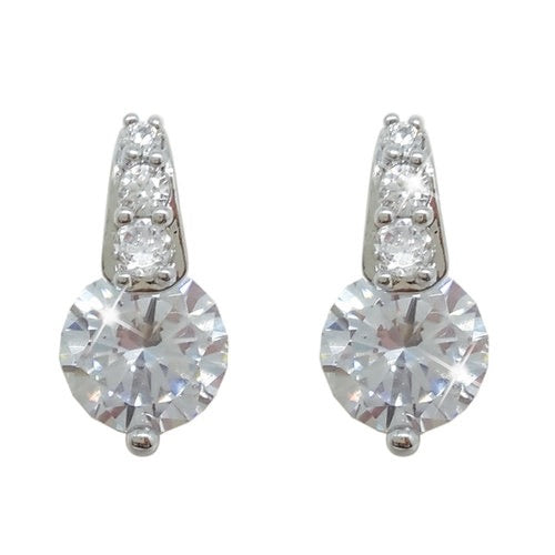 Tipperary Crystal Silver Round Stud Earrings With Pave Bale