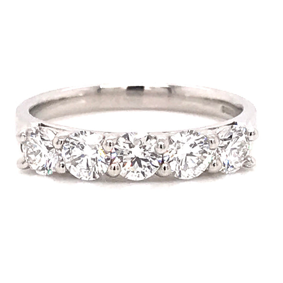 Platinum Five Stone Eternity Ring