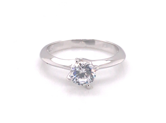 Sterling Silver Solitaire Cz Ring