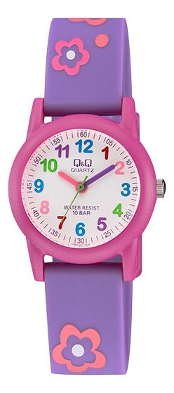 Q & Q Girls Purple And Pink Flower Strap Watch
