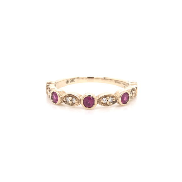 9ct Yellow Gold, Ruby and Diamond Band