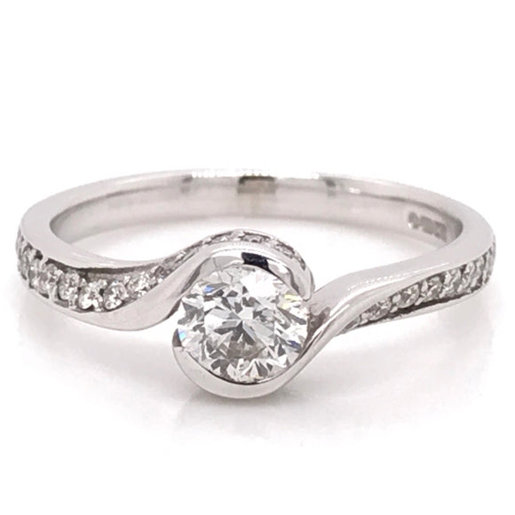 Solitaire with wrap around diamond band Diamond Engagement Ring