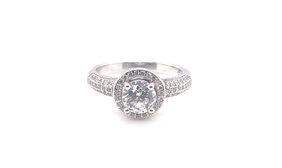 Sterling Silver Round Halo Cz Ring