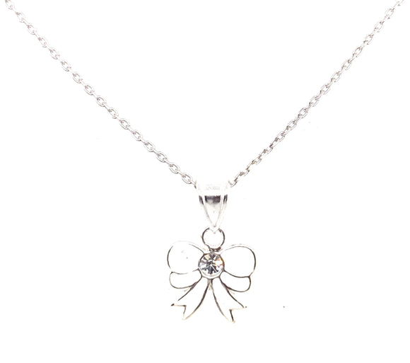 Sterling Silver White Cz Bow Pendant