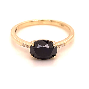 1.59ct Black Diamond with Diamond Yellow Gold Band