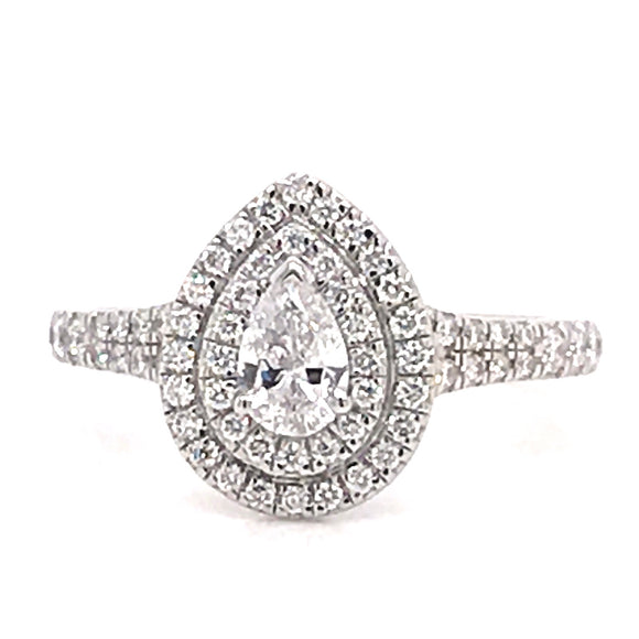 Platinum Pear Double Halo 0.75ct Diamond Engagement Ring