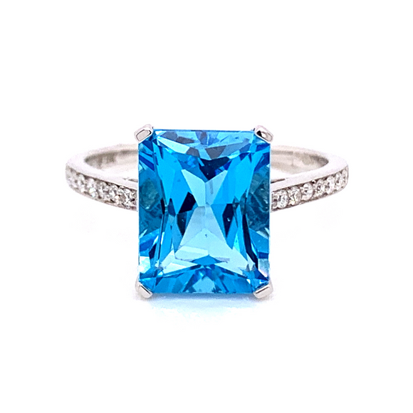 9K White Gold 4ct Blue Topaz With Diamond Band