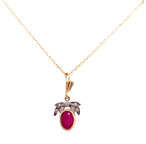 9ct Gold Two Tone Ruby And Diamond Necklace