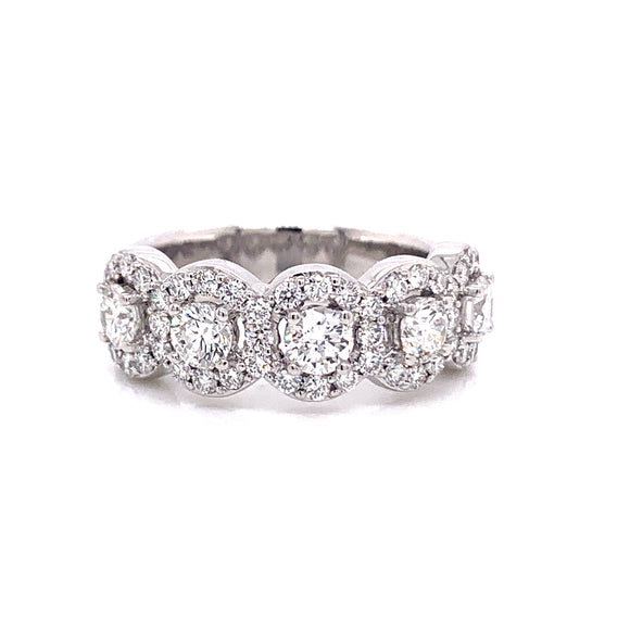 Platinum 5 Stone Halo Ring
