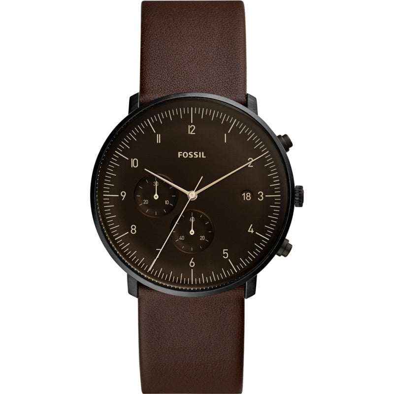 Fossil Chase Timer Whiskey Leather Strap Gents Watch FS5485