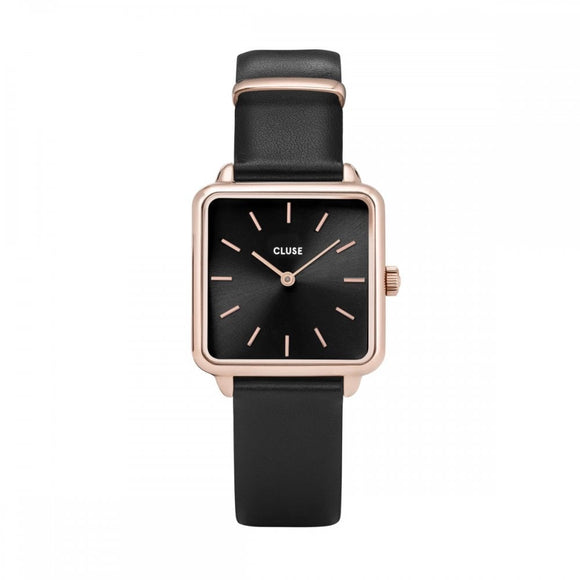 La Tetragone Rose Gold and Black Leather Watch