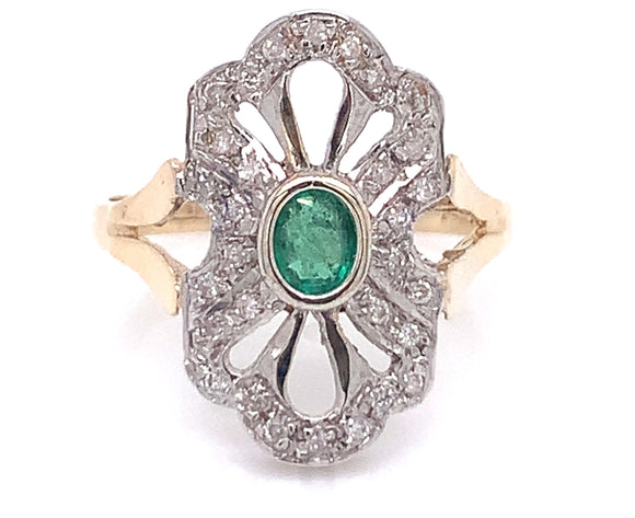 9ct Gold Emerald & Diamond vintage style ring