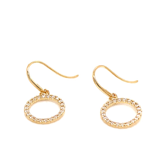 9ct Gold Cz Open Circle Hook Earrings