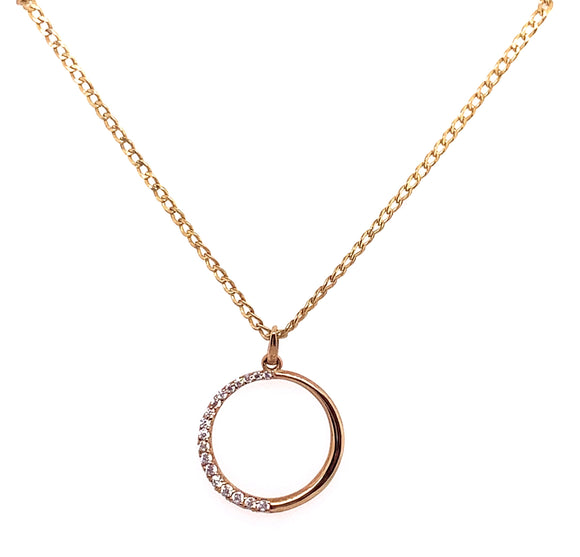 9ct Yellow Gold 1/2 Cz Design Open Circle Pendant